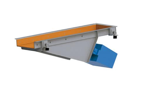 Vibrating trough conveyor with electromagnetic drive