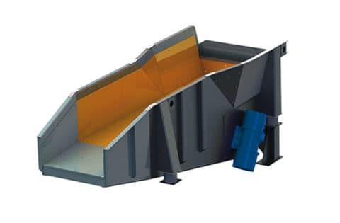 Vibrating trough conveyor with unbalanced motor